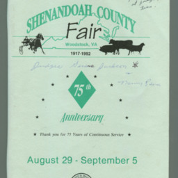 1992 Shenandoah County Fair Premium Book
