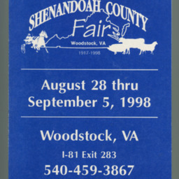 1998 Shenandoah County Fair Premium Book