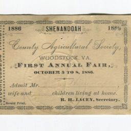 Shenandoah County Agriculture Society First Annual Fair Pass