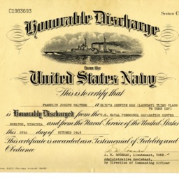 Honorable Discharge: United States Navy