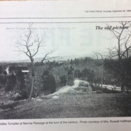 The old picture Valley Turnpike at Narrow Passage ca. 1900 September 30 1999 the Free Press p5.pdf