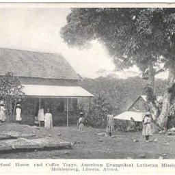School House and Coffee Trays, American Evangelical Lutheran Mission, Muhlenberg, Liberia, Afirca