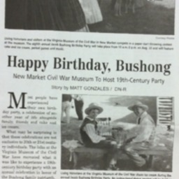 Happy Birthday, Bushong New Market Civil War Museum to Host 19th-Century Party July 30 2015 Daily News Record A7.pdf