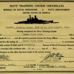 Navy Training Course Certificate