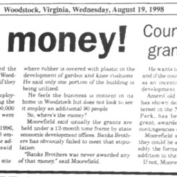 Show Us the Money! County tries to regain $200,000 grant intended for Banks Bros. August 19 1998 Shenandoah Valley-Herald P!.pdf