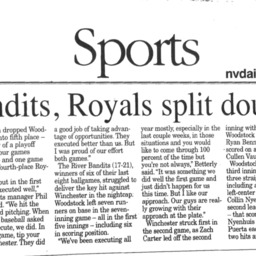 River Bandits, Royals Split Doubleheader July 22 2015 Northern Virginia Daily B1.pdf